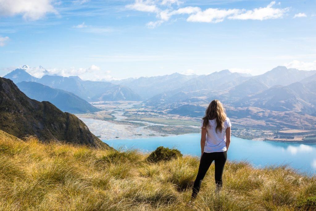 Woman Looking Over Southern Lakes Nz