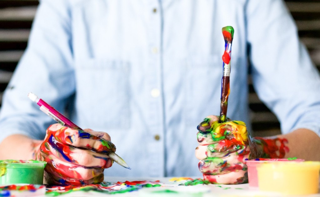 Creative Person With Paints